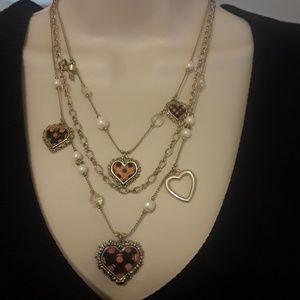 Betsy Johnson hearts necklace